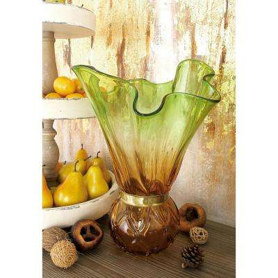 16 in. Orange, Emerald Green and Brass Gold Crimpled Glass Decorative Vase