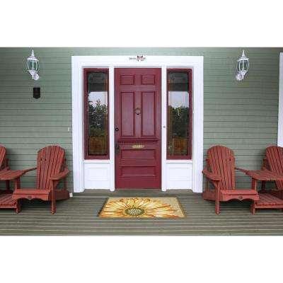 Woodside Asterales Yellow 5 ft. x 5 ft. Round Indoor/Outdoor Area Rug