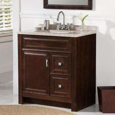 Candlesby 30 in. W x 19 in. D Bathroom Vanity in Cognac with Solid Surface Vanity Top in Autumn with White Sink