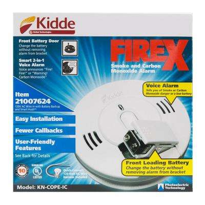 FireX Hardwire Smoke and Carbon Monoxide Combination Detector with 9-Volt Battery Backup and Voice Alarm (3-Pack)