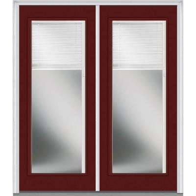 72 in. x 80 in. Internal Blinds Right-Hand Full Lite Classic Painted Steel Prehung Front Door