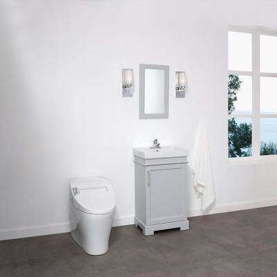 Hallcrest 20 in. W x 16 in. D Vanity in Misty Grey with Integrated Vanity Top in White with White Sink and Mirror