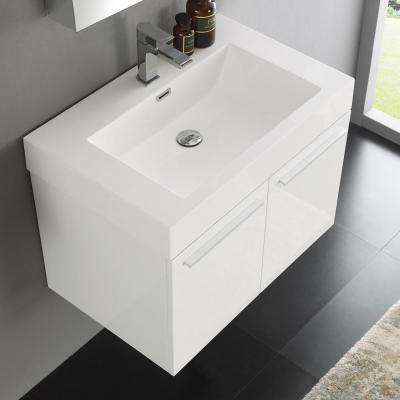 Vista 30 in. Vanity in White with Acrylic Vanity Top in White with White Basin and Mirrored Medicine Cabinet