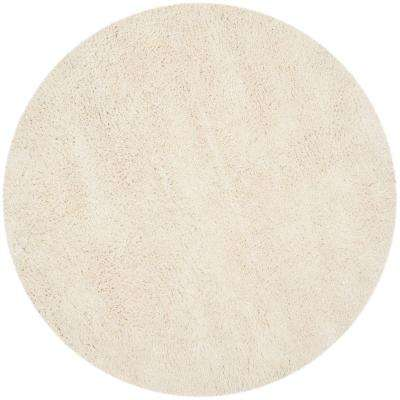 Classic Shag White 4 ft. x 4 ft. Round Area Rug