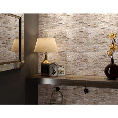 Sandy Mixed Tan 11.77 in. x 11.57 in. x 8mm Stone Self Adhesive Wall Mosaic Tile (11.4 sq. ft. / case)