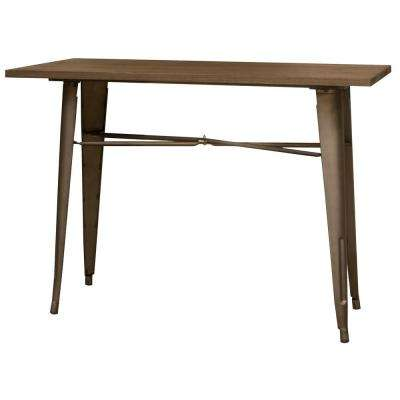 Loft Series 41 in. Rustic Gunmetal Metal Counter Height Dining Table With Wood Top