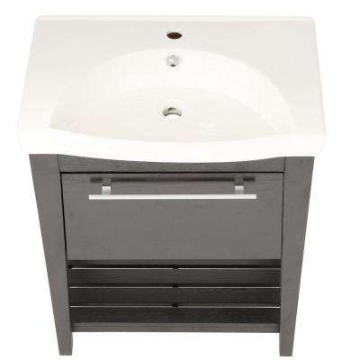 Luton 28 in. W x 18 in. D x 36 in. H Single Sink Wood Vanity in Black with Porcelain Vanity Top in White