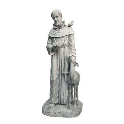 14.5 in. W x 11 in. D x 37 in. H St. Francis with Deer Garden Statue-DISCONTINUED