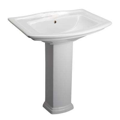 Washington 765 30 in. Pedestal Combo Bathroom Sink for 4 in. Centerset in White