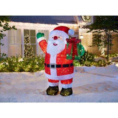 Toasty Tinsel 84 in. LED Giant Fuzzy Santa with Gift Box