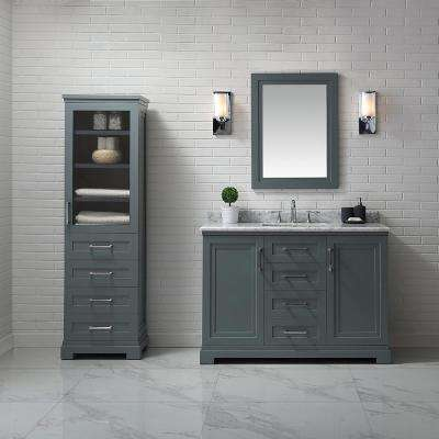 Lynn 48 in. W x 22 in. D Vanity in School House Slate with Marble Vanity Top in White with White Basin