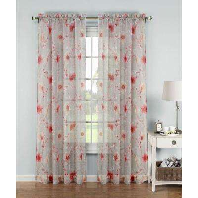 Sheer Pamela Printed Sheer Extra Wide Rod Pocket Curtain Panel