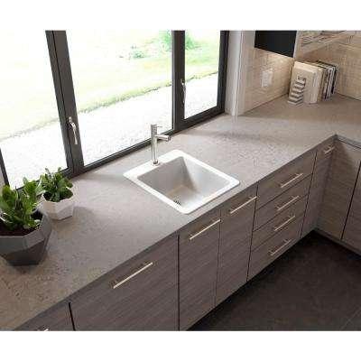 Glacier Bay Drop-in/Undermount Granite Composite 17 in. Single Bowl Bar Sink in White