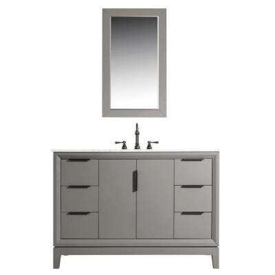 48 in. Single Sink Bath Vanity in  Carrara White Marble Vanity Top in Cashmere Grey w/ F2-0012-03-TL Lavatory Faucet