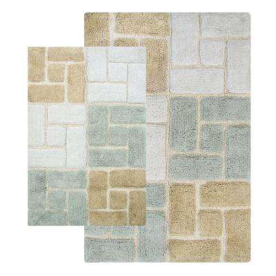 Berkeley 21 in. x 34 in. and 24 in. x 40 in. 2-Piece Bath Rug Set in Spa