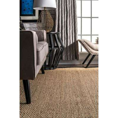 Elijah Seagrass with Border Black 8 ft. x 8 ft. Square Area Rug