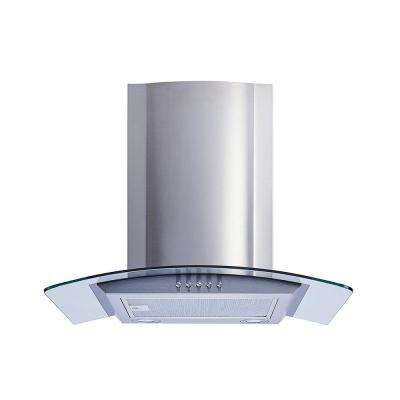 30 in. Convertible Stainless Steel Glass Wall Mount Range Hood with Aluminum Mesh Filter and Push Button Control