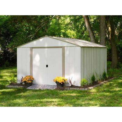 10 ft. W x 14 ft. D x 6 ft. H Oakbrook Galvanized Steel High Gable Storage Shed in Eggshell/Taupe w/ UV-Resistant Panels