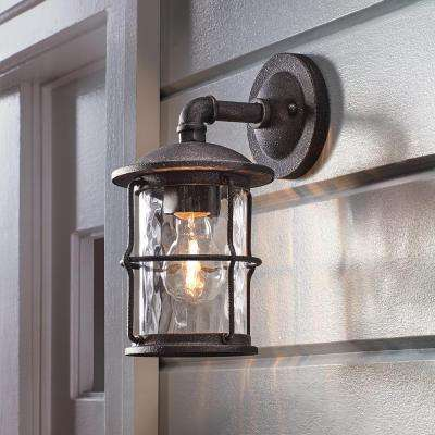 1-Light Gilded Iron 11.6 in. Outdoor Wall Lantern Sconce