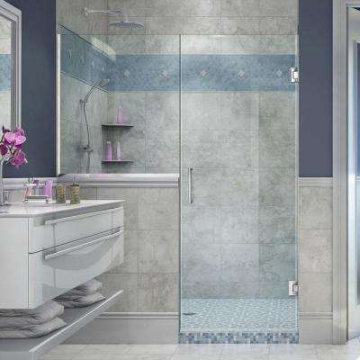 Unidoor Plus 59 in. to 59-1/2 in. x 72 in. Frameless Pivot Shower Door in Chrome with Buttress Panel