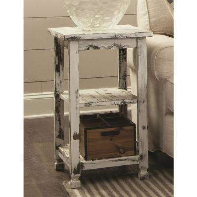 Country Cottage White Antique 2 Shelf End Table