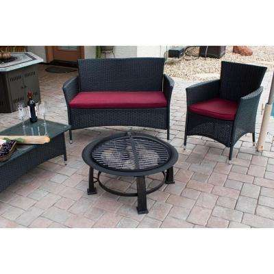 30 in. Wood Burning Firepit in Black