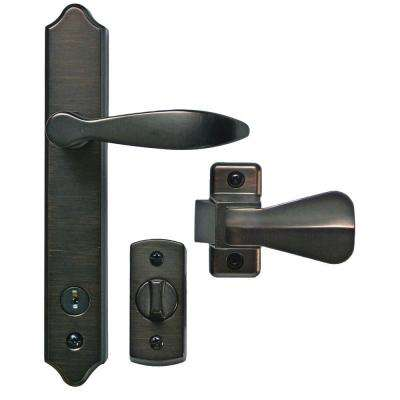 Deluxe Antique Brass Storm Door Handle Set with Deadbolt