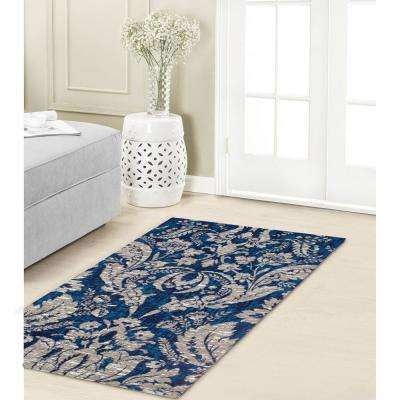 Connemara Navy Jacquard Chenille 2 ft. x 3 ft. Textured Area Rug