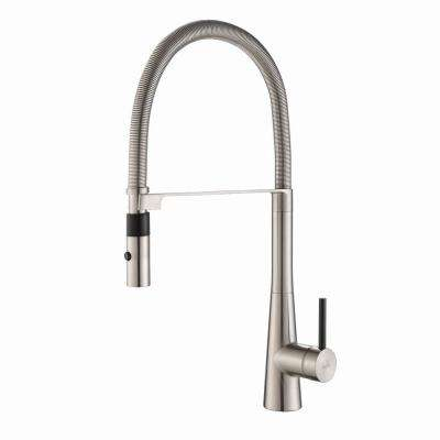 Crespo Flex Single-Handle Commercial Style Kitchen Faucet with Dual-Function Sprayer in Stainless Steel
