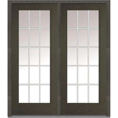 74 in. x 81.75 in. Classic Clear Glass GBG Full Lite Finished Fiberglass Oak Exterior Double Door