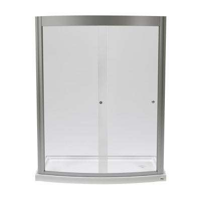 Ovation 60 in. x 75.25 in. Framed Sliding Shower Door in Satin Nickel with 60 in. x 30 in. Base in Arctic