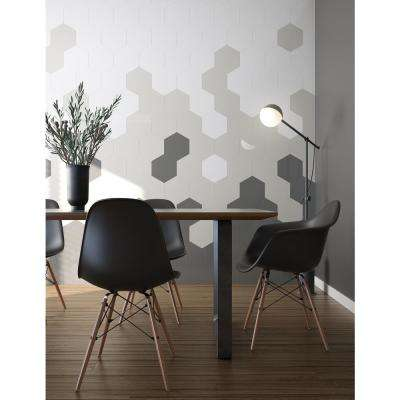 Giant Hexagon White 9.38 in. x 10.83 in. x 5 mm in Metal Peel and Stick Wall Tile (2.12 sq.ft/pack)