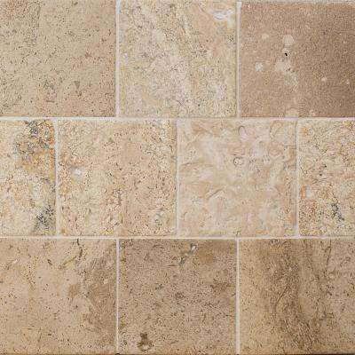 Brushed Crema Marfil 4 in. x 4 in. Marble Floor and Wall Tile (9-Pieces)