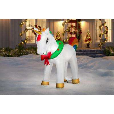 6 ft. Pre-Lit Life Size Airblown Inflatable Fuzzy Christmas Unicorn with Metallic Detail