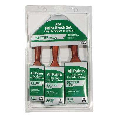2 in. Flat, 3 in. Flat, 2.5 in. Angled Sash Paint Brush Set