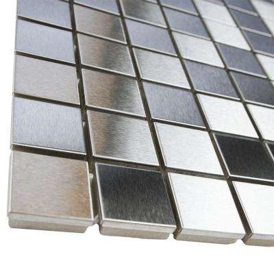 Alloy Square 11-7/8 in. x 11-7/8 in. x 8 mm Stainless Steel Metal Over Porcelain Mosaic Tile