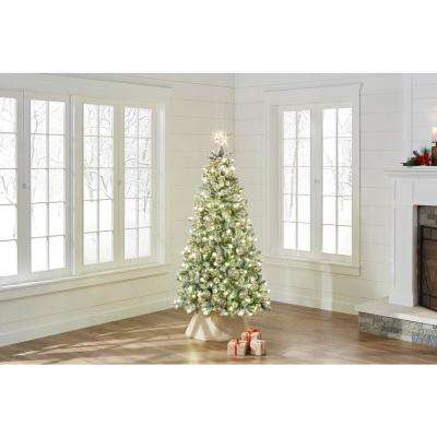6.5 ft. Pre-Lit LED Snowy Flocked Pine Artificial Christmas Tree with 250 Warm White Lights