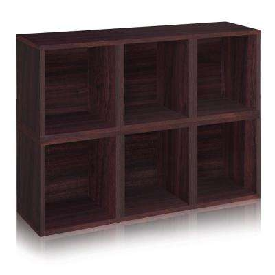 zBoard 6-Cubes Eco Cubby Organizer, Tool-Free Assembly Modular Storage Cubes in Espresso Wood Grain