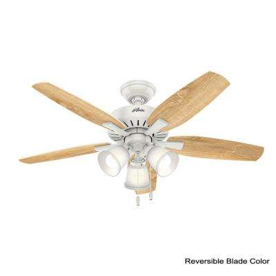 Oakfor 48 in. LED Indoor Fresh White Ceiling Fan with Light Kit