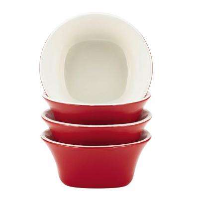 Dinnerware Round and Square 4-Piece Stoneware Fruit Bowl Set in Red
