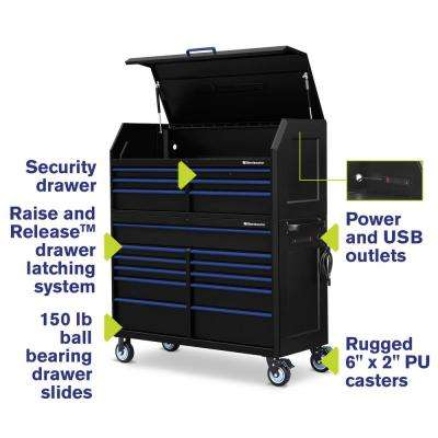 24 in. x 56 in. 17-Drawer Tool Chest and Cabinet Combo with Power and USB Outlets in Black and Blue