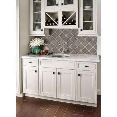 Dove Gray Arabesque 10-1/2 in. x 15-1/2 in. x 8 mm Glazed Ceramic Mesh-Mounted Mosaic Wall Tile (11.7 sq. ft. / case)