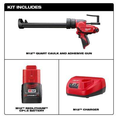 M12 12-Volt Lithium-Ion Cordless Quart Caulk and Adhesive Gun Kit with (1) 1.5Ah Battery and Charger