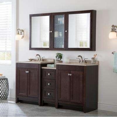 Delridge Bath Suite with 2 - 24 in. W Bath Vanities with Vanity tops and Linen Tower in Chocolate