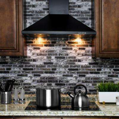 36 in. Convertible Kitchen Wall Mount Range Hood in Black