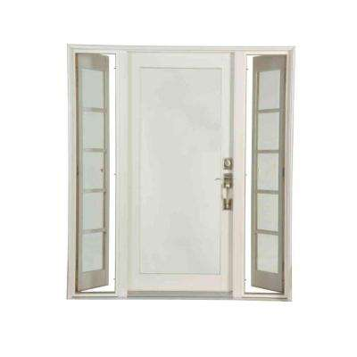 Pro Series White 10 Lite Painted Pine Prehung Front Door with Venting Sidelites
