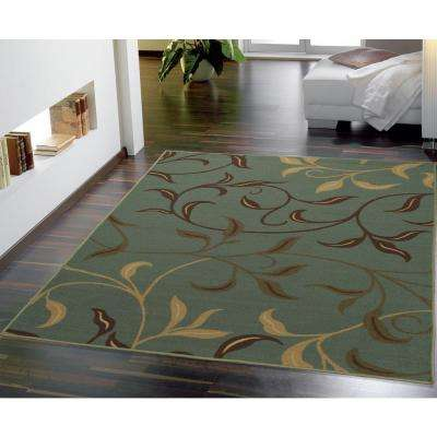 Ottohome Collection Contemporary Leaves Design Seafoam 3 ft. x 5 ft. Area Rug