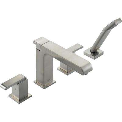 Arzo 2-Handle Deck-Mount Roman Tub Faucet with Hand Shower Trim Kit Only in Stainless (Valve Not Included)