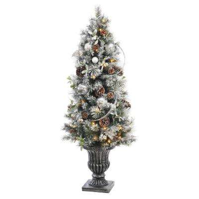 5 ft. Battery Operated Snowy Silver Pine Potted Artificial Christmas Tree with 50 Clear LED Lights