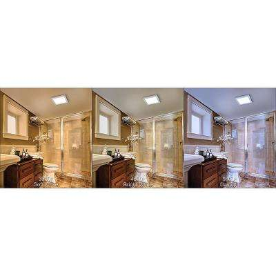 13 in. x 13 in. Square Brushed Nickel LED Flush Mount Ceiling Light Flat Panel 850 Lumens 3000K 4000K 5000K Dimmable